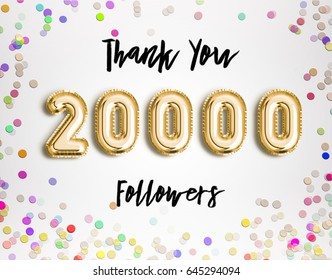 20k or 20000 followers thank you Gold balloons and colorful confetti, glitters. Illustration for Social Network friends, followers, Web user Thank you celebrate of subscribers or followers and likes.