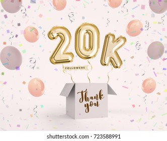 20k, 20000 followers thank you with gold balloons and colorful confetti. Illustration 3d render for social network friends, followers, web user Thank you celebrate of subscriber, followers, likes