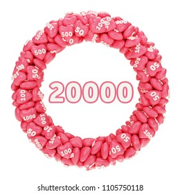 20K followers or 20000 likes. Pink heart, Social Media like icon. 3D Illustration for Social Network friends, subscribers or followers and likes.