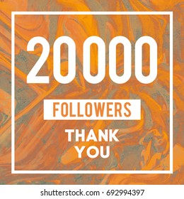 20k Followers Thank You message to followers and subscribers in abstract Gold Marble