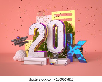 20k followers, Thank You, social sites post. Thank you followers congratulation card. 3d rendering