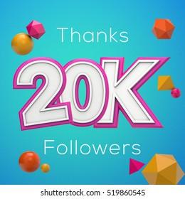 20K likes online social media thank you banner. 3D rendering