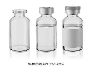 20R vaccine clear glass injection vials set isolated on white background. 3d rendering mockup.