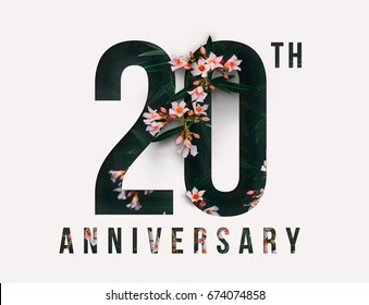 20th Anniversary celebrate illustration design by Real flowers with precious paper cut . For your unique anniversary background, invitation, card, birthday, celebration party of the years anniversary