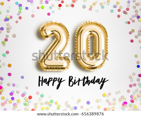 20th Birthday Celebration With Gold Balloons And Colorful Confetti Glitters 3d Illustration Design For