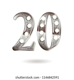 20th silver anniversary logo, ten years birthday celebration solated on white background.