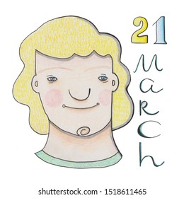 21 march - World Down Syndrome Day. Cartoon girl holding paper with written text of 21 march. Down Syndrome Awareness illustration.