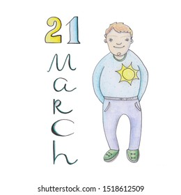 21 march - World Down Syndrome Day. Cartoon boy holding paper with written text of 21 march. Down Syndrome Awareness illustration.