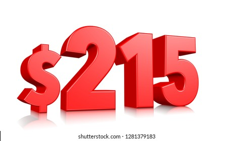 215$ Two hundred fifteen price symbol. red text number 3d render with dollar sign on white background