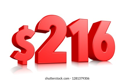 216$ Two hundred and sixteen price symbol. red text number 3d render with dollar sign on white background