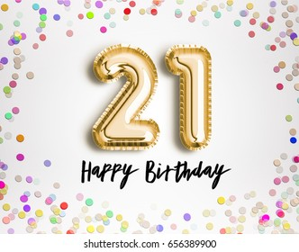 21st Birthday celebration with gold balloons and colorful confetti glitters. 3d Illustration design for your greeting card, birthday invitation and Celebration party of twenty one years anniversary