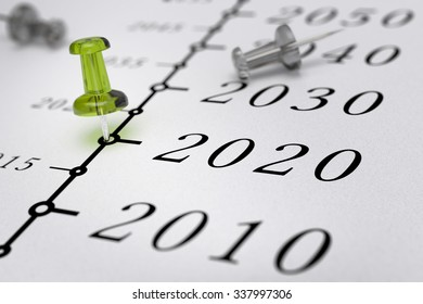 21st Century timeline over white paper background with green pushpin pointing the year 2020, blur effect, conceptual image.