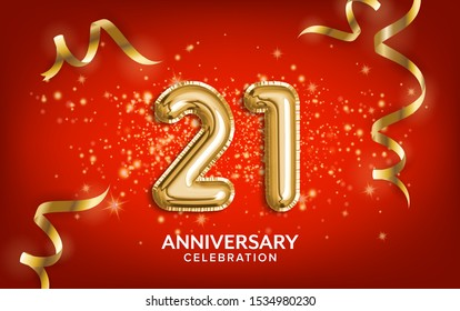 21th Anniversary celebration. Anniversary Celebrating text balloons with golden serpentine and confetti on red background. Birthday or wedding party event decoration. Illustration stock