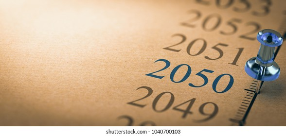 21th century time line and blue pushpin with focus on the year 2050. 3d illustration