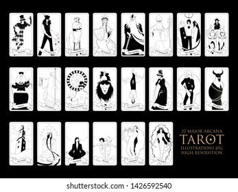 22 Major arcana of the tarot in full, isolated on white background.JPG illustrations in high resolution