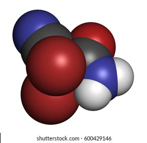 2,2-dibromo-3-nitrilopropionamide (DBNPA) biocide molecule. 3D rendering. Atoms are represented as spheres with conventional color coding: hydrogen (white), carbon (grey), nitrogen (blue), etc