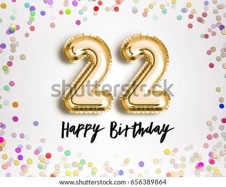 22nd Birthday Celebration Gold Balloons Colorful Stock Illustration