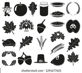 23 black and white thanksgiving silhouette elements Festive comfort food Harvest festival themed illustration for icon, stamp, label, sticker, badge, gift card, certificate or flayer decoration