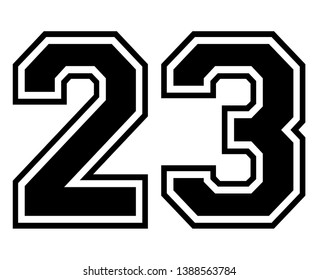 23 Classic Vintage Sport Jersey / Uniform numbers in black with a black outside contour line number on white background for American football, Baseball and Basketball or soccer for shirt