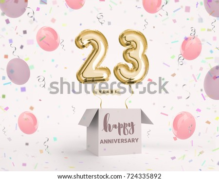 23 Years Anniversary Happy Birthday Joy Celebration 3d Illustration With Brilliant Gold Balloons