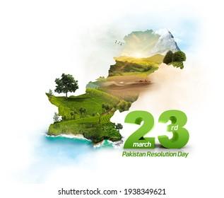 23rd of march Pakistan day celebration. Pakistan famous monuments. Pakistan tourism map Illustration.