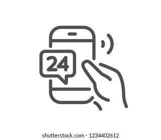 24 hour service line icon. Call support sign. Feedback chat symbol. Quality flat web app element. Line design 24h service icon.