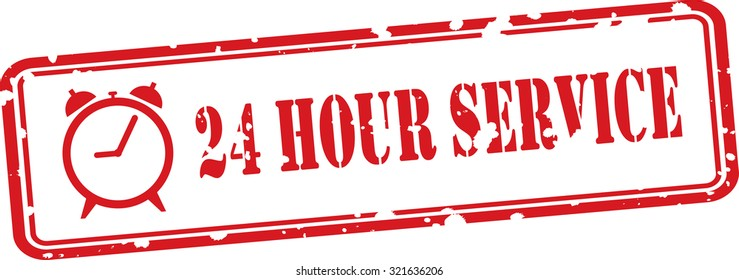 24 Hour Service Red Grunge Rubber Stamp Concept On White Background.