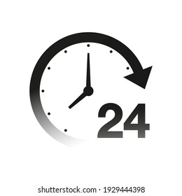 24 hour support icon illustration isolated on white. Customer service concept.