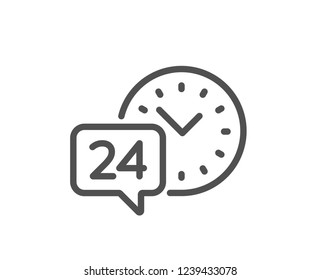24 hour time service line icon. Call support sign. Feedback chat symbol. Quality flat web app element. Line design 24h service icon.
