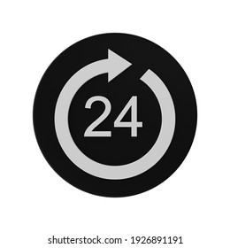 24 hours clock icon on black circle 3d rendering isolated on white background
