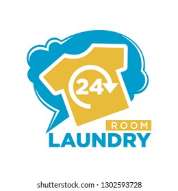 24 Hours laundry room promotional logotype with T-shirt
