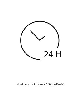 24 hours service icon. Element of simple travel icon for mobile concept and web apps. Thin line 24 hours service icon can be used for web and mobile on white background