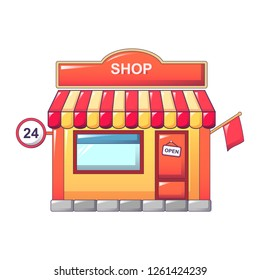 24 hours street store icon. Cartoon of 24 hours street store icon for web design isolated on white background