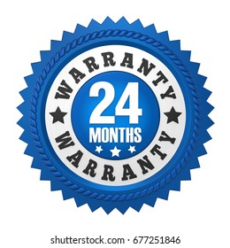 24 Months Warranty Badge Isolated. 3D rendering