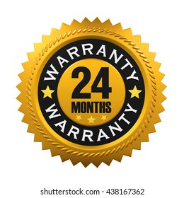 24 Months Warranty Sign. 3D rendering