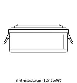 24 volt car battery icon. Outline illustration of 24 volt car battery icon for web design isolated on white background