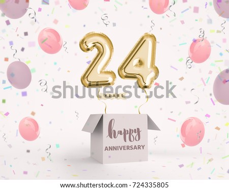 24 Years Anniversary Happy Birthday Joy Celebration 3d Illustration With Brilliant Gold Balloons