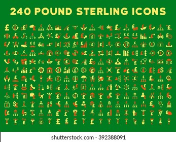 240 British Business icons. Style is bicolor orange and yellow flat symbols on a green background. Pound sterling icon is basic element.