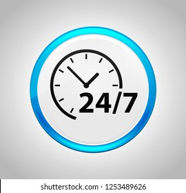 24/7 clock icon isolated on round blue push button