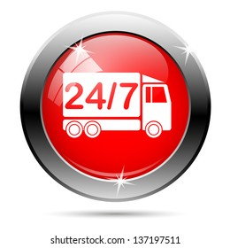 247 delivery truck icon with white on red background