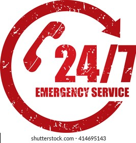 24/7 Emergency service grunge stamp.