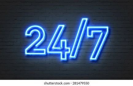 24/7 open concept on brick wall background