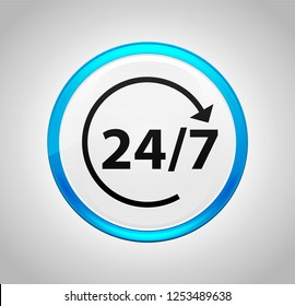 24/7 rotate arrow icon isolated on round blue push button