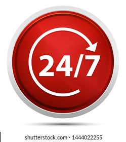 24/7 rotate arrow icon isolated on Promo Red Round Button