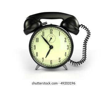 24/7 service concept. Retro alarm clock and retro phone reciever.