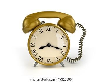 24/7 service concept. Retro alarm clock and retro phone receiver.