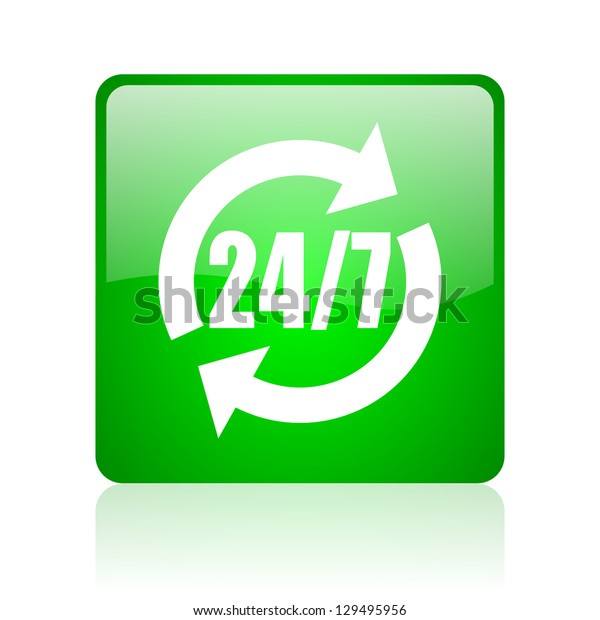 24/7 service green square web icon on white background