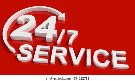 24/7 Service over red Background 3D rendering
