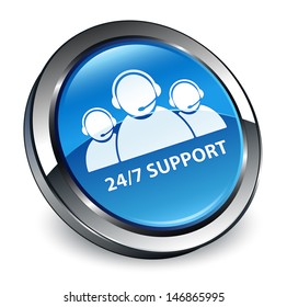 24/7 support customer care team icon 3d blue button