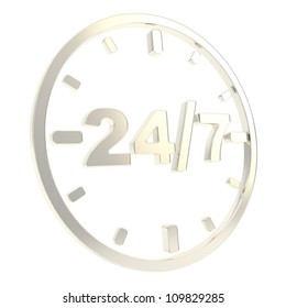 24/7 twenty four hour seven days a week glossy chrome metal round emblem icon isolated on white background